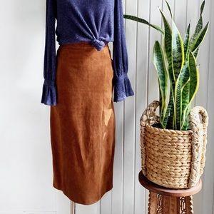 VTG 100% Leather Camel Tan Midi Skirt